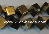 CPY358 15.5 inches 10*10mm cube pyrite gemstone beads wholesale