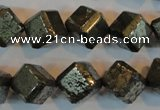 CPY364 15.5 inches 12*12mm faceted cube pyrite gemstone beads