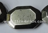 CPY370 15.5 inches 25*35mm octagonal pyrite gemstone beads wholesale