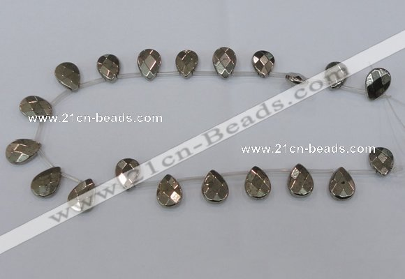 CPY378 Top drilled 12*16mm briolette pyrite gemstone beads