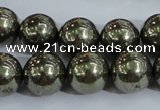 CPY406 15.5 inches 14mm round pyrite gemstone beads wholesale