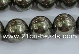 CPY407 15.5 inches 16mm round pyrite gemstone beads wholesale