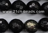 CPY504 15.5 inches 12mm faceted round natural chalcopyrite beads
