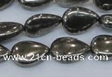 CPY578 15.5 inches 13*18mm flat teardrop pyrite gemstone beads