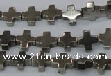 CPY581 15.5 inches 8*8mm cross pyrite gemstone beads wholesale