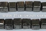 CPY613 15.5 inches 10*10mm cube pyrite gemstone beads
