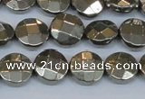 CPY627 15.5 inches 12mm faceted coin pyrite gemstone beads