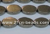 CPY642 15.5 inches 10*14mm oval pyrite gemstone beads wholesale