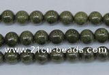 CPY750 15.5 inches 4mm round pyrite gemstone beads wholesale
