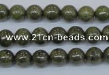 CPY751 15.5 inches 6mm round pyrite gemstone beads wholesale