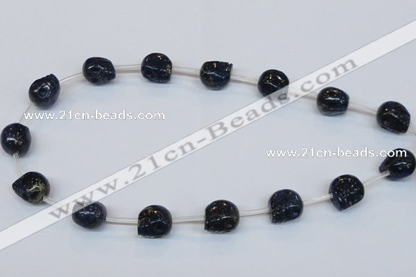 CPY791 Top drilled 16mm carved skull pyrite gemstone beads