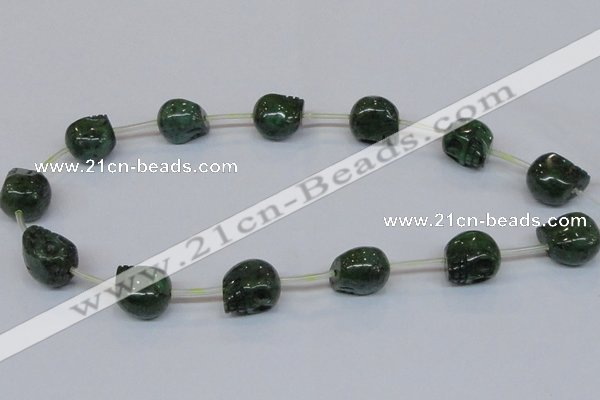 CPY797 Top drilled 16mm carved skull pyrite gemstone beads