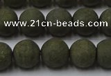 CPY815 15.5 inches 8mm round matte pyrite beads wholesale