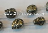 CPY86 15.5 inches 13mm carved skull pyrite gemstone beads wholesale