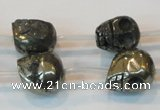 CPY87 15.5 inches 14mm carved skull pyrite gemstone beads wholesale