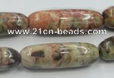 CRA10 15.5 inches 13*40mm cylinder natural rainforest agate beads