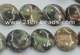 CRA11 15.5 inches 16mm flat round natural rainforest agate beads