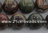 CRA117 15.5 inches 20mm round rainforest agate beads