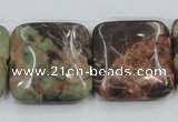 CRA23 15.5 inches 25*25mm square natural rainforest agate beads