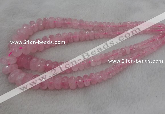 CRB1120 15.5 inches 5*8mm - 9*18mm faceted rondelle rose quartz beads