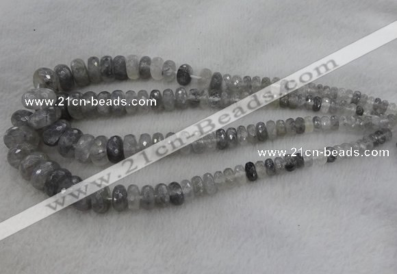 CRB1124 15.5 inches 5*8mm - 9*18mm faceted rondelle cloudy quartz beads