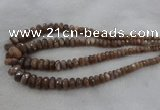 CRB1132 15.5 inches 5*8mm - 9*18mm faceted rondelle moonstone beads