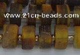 CRB1255 15.5 inches 7*14mm tyre matte yellow tiger eye beads