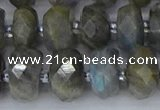 CRB1297 15.5 inches 6*12mm faceted rondelle labradorite beads