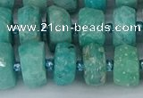 CRB1372 15.5 inches 6*12mm faceted rondelle amazonite beads