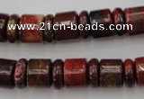CRB140 15.5 inches 6*12mm & 10*12mm rondelle brecciated jasper beads