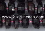 CRB1412 15.5 inches 6*12mm faceted rondelle red garnet beads