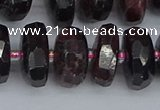 CRB1414 15.5 inches 8*16mm faceted rondelle red garnet beads