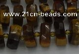 CRB1431 15.5 inches 6*10mm faceted rondelle yellow tiger eye beads