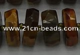 CRB1435 15.5 inches 8*18mm faceted rondelle yellow tiger eye beads