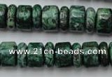 CRB162 15.5 inches 5*14mm & 10*14mm rondelle green picture jasper beads
