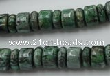 CRB170 15.5 inches 4*10mm – 7*10mm rondelle green picture jasper beads