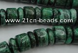 CRB175 15.5 inches 4*12mm – 8*12mm rondelle green picture jasper beads