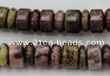 CRB176 15.5 inches 4*12mm – 8*12mm rondelle red artistic jasper beads