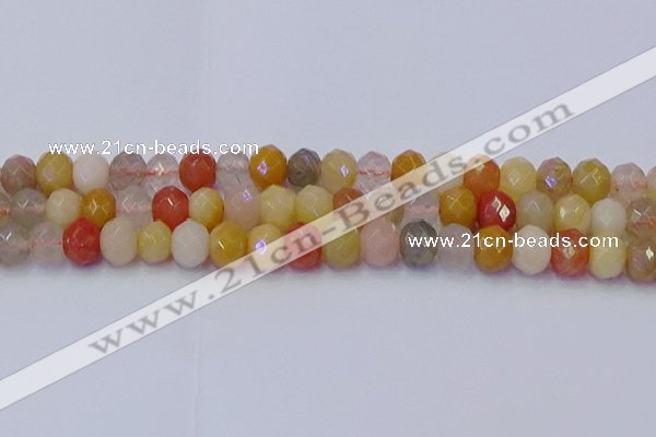 CRB1822 15.5 inches 6*10mm faceted rondelle mixed rutilated quartz beads