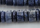 CRB187 15.5 inches 6*16mm – 10*16mm rondelle blue dumortierite beads