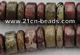 CRB191 15.5 inches 6*16mm – 10*16mm rondelle red artistic jasper beads