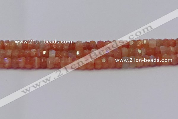 CRB1930 15.5 inches 4*6mm faceted rondelle sunstone beads