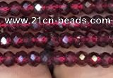 CRB1938 15.5 inches 2*3mm faceted rondelle red garnet gemstone beads