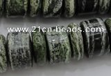 CRB195 6*18mm – 13*18mm rondelle green silver line jasper beads