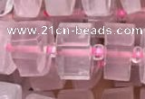 CRB2005 15.5 inches 7mm - 8mm faceted tyre rose quartz beads