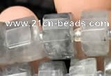 CRB2027 15.5 inches 11mm - 12mm faceted tyre cloudy quartz beads