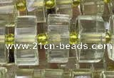 CRB2031 15.5 inches 9mm - 10mm faceted tyre lemon quartz beads