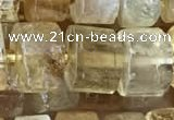 CRB2037 15.5 inches 11mm - 12mm faceted tyre citrine gemstone beads