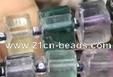 CRB2046 15.5 inches 9mm - 10mm faceted tyre fluorite gemstone beads