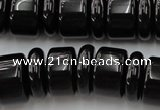 CRB206 15.5 inches 6*18mm - 13*18mm rondelle black agate beads